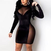 Женщины bodycon сексуальное платье patchwrok Смотреть сквозь сетчатый пакет тарелка Clubwear ночной вечером, герметичные длинные рукава Vestidos 210513