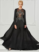 2021 Women Black Beading Formal Evening Dress Solid Appliques Chiffon Jumpsuits Sleeveless Mother of Bridal Gowns with Jacket