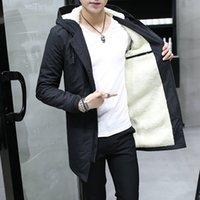 Men's Windbreaker Long Parka Hooded Korean Warm Anorak Coat Male Cotton Male Clothing Fur Fleece Men Winter Jacket A0607