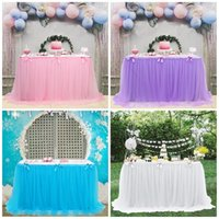 Festa di nozze Tutu Tulle Tavolo Gonna Coperchio Blu Pink Tovaglia Baby Shower Decorazioni per il compleanno Decorazioni per la casa