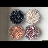 Inci Yüksek Kalite 6-7-8mm Doğal Oval Tohum Boncuk Beyaz Pembe Mor Siyah Gevşek Tatlısu İnciler Boncuk Takı Yapımı Için DIY Rwwgi E47D3