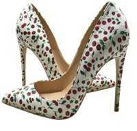 Sapatos das mulheres Vermelho inferior salto alto tamanho pequeno tamanho Euro34 a 45 salto 8cm 10cm 12cm multi dedos apontados dedos graffit de couro de patente de couro