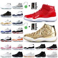 Nike Air Jordan 11 Jordan Retro 11 11s Stock x Jumpman 11 11s Mens Basquetebol Sapatos Retro Ganhe como 96 Gold Metallic Jubilee 25th Anniversary Criado Cap e Gastagem