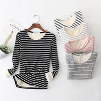 Women's Sweaters Winter Womens Plus Velvet Legging Shirts Size Thick Warm Tops Female Striped Slim Pullovers A473