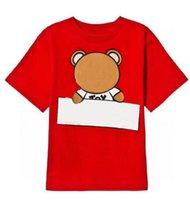 Kids T Shirts Boys Top Filles Tees 2021 Chemise à manches courtes Bébé Enfants Lettre imprimée avec motif d'ours Tshirt Pullover