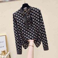 Luxury Design Autumn Fashion Women's Bow Chiffon Letter Print Shirt Tops Long Sleeves Blouses Shirts A3790