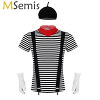 MSemis Mens Adults French Artist MIME Costume Circus Carnival Halloween Cosplay Fancy Dress Outfit Short Sleeve Striped T-shirt Y0903