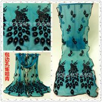 Bufanda de seda de seda de seda de las mujeres envuelto bufanda de seda de pavo real BB1