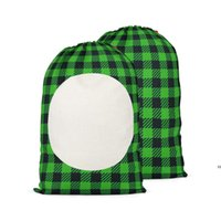 48 * 64cm 크리스마스 선물 가방 승화 공백 산타 자루 격자 무늬 패턴 캔디 저장 백 Drawstring HWA9098
