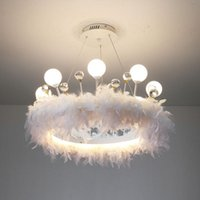 Корона перо люстры спальня магазин красоты магазин Кристалл девушка детская комната модель кулон подвесной светильники
