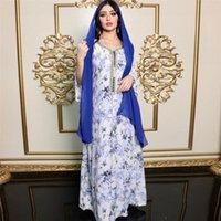 Ethnic Clothing Caftan Dubai Muslim Printed Long Dress Ramadan Middle East Hijab Women Islamic Spring Autumn Sleeve Robe Gown Fashion