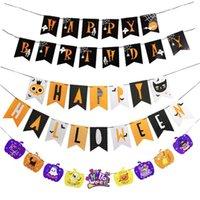 EUA estoque 4 pcs decoração de Halloween puxar bandeira fantasma festival festa decoração suprimentos puxar flor cena cena banner banner bunting