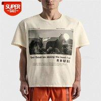 21 tide brand Rhude pony print slogan wash retro high street men's and women's short-sleeved t-shirt loose #yq0q