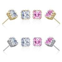 En gros plaqué or carré zircon zircon cible boucles boucles d'oreilles mode de mode bijoux cadeau de fiançailles pour femmes couleurs mélangées 1226 b3