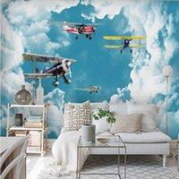 Wallpapers Milofi 3D Custom Wallpaper Modern Minimalist Mediterranean Blue Sky And White Clouds Aircraft Children's Room Background Wall