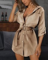 Womens Slim Sexy Shirts Dress Summer Woman Solid Color OL Belt Lapel Neck Dresses Women Fashion Casual Clothes