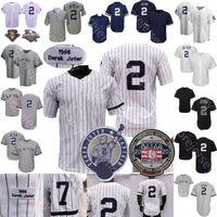 2 Дерек Джер Джерси Винтаж 2020 Зал славы Патч Бейсбол 1995 Coopers-Town Home Всё Белый Pinstripe Grey Все Stticed Мужчины Размер M-3XL