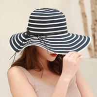 Été Chapeaux de soleil Chapeau de Visière Big BRim Classique Blanc Blanc Blanc Strawaw Casquettes élégantes de plage d'extérieur pour femmes large