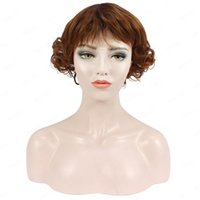 Synthetic Wigs Rebcass Hair Cosplay For Women Short Brown Curly High Temperature Fiber Daily