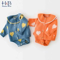 Infant Long Sleeves Cartoon Coat Straps Triangle Jumpsuit Sweater Two-Piece Set Baby Girls Winter Clothes 210507