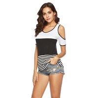 Femminile Blusas Donne Offshoulder Plain Striped Striped Cuciture a maniche corte Tshirt Maglietta Tops T-shirt da donna Sexy