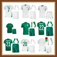 Hayranları Sürüm Cezayir 2021 2022 Ev Beyaz Uzaktan Yeşil Futbol Formaları Mahrez Feghouli Bennacer Atal 21 22 Cezayir Futbol Takımları Gömlek Erkekler + Çocuklar Maillot De Ayak Setleri
