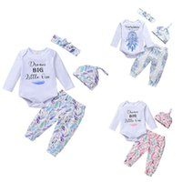 kids Clothing Sets Girls outfits infant toddler letter romper Tops+Dreamcatcher Feather print pants set Spring Autumn fashion Boutique baby clothes Z4317