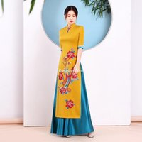 Vietnam tradicional AO DAI Vestido chino Qipao para mujeres Bordado de flores Cheongsam Estilo étnico Disfraz Aodai Ropa