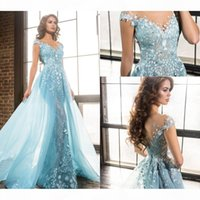Light Sky Blue Appliques Formal Evening Dresses with Overskirt Train Sexy See Through Lace Beaded Long Prom Celebrity Gowns Sheer Neckline