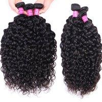 Peruvian Indian Malaysian Brazilian Virgin Hair Weft Weave Bundles Water WaveRemy Human Hair Extensions 4pc lot Natural Black