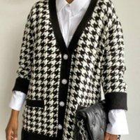 V Neck Kobiety Kurtki Przycisk Czarny Houndstooth Sweter Sweter Długim Rękawem Jesień Zima Dzianiny Luźne Oversized Jumper Casual WG-WT37014