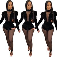 Women's Jumpsuits & Rompers Fall Autumn Winter Women Mesh Perspective Velvet Full Sleeve Sexy Night Club Party Outfits One Piece