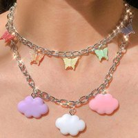 Chokers ALYXUY Cloud Butterfly Pendant Necklace Color Multicolor Clavicle Chain Paperclip Choker For Women Fashion Accessories