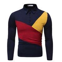순수한 cottoncolor 새로운 2019 광고 티셔츠 남성 대비 디자인 긴 소매 폴로 셔츠