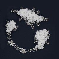 Hair Clips & Barrettes SLBRIDAL Handmde Rhinestones Pearls Yarn Flower Bridal Headband Comb Clip Wedding Accessories Women Jewelry