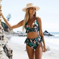 Сексуальная высокая талия рюшами bikini set Купальники женщины леди леди цветочные женские толчок купальника 2021 летний пляж носить баги костюм бикини 1099 z2