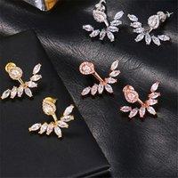 Dangle & Chandelier Fashion Simple Charm Zircon Female Stud Earrings Unusual Geometry Silver Color Wing Water Drop Earring Trendy Women Jewe