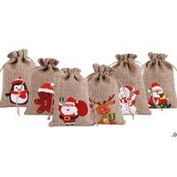 عيد الميلاد الخيش الكتان الرباط حقيبة هدية يلتف سانتا كلوز ثلج البطريق الأيائل الحلوى مجوهرات التعبئة والتغليف الحالي أكياس التخزين عيد الميلاد FWF9345