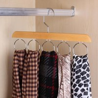 Stylish Wood Closet Organizer Rack With Chrome Hanger For Silk Scarf Ties And Belt Log Color Wooden Ring Tie Hangers & Racks