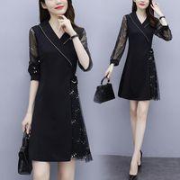 Casual Dresses Womens Woman Plus Size L-5XL Dress Sequins Black XXL XXXL 3XL XXXXL 4XL Mesh Sleeve Business Office Ladies Work Wear Use