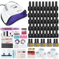 Nail Manicure Kit For Lamp Dryer Gel Select 45 36 18 Color Polish Set & Electric Drill Art Tools Kits