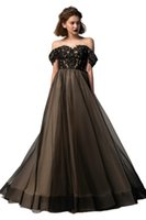 2021 Black Nude 2 Pieces Gothic Wedding Dresses Gowns Off the Shoulder Beaded Lace Detachable Train Non White Bride Dress Custom Made