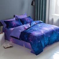 Conjuntos de cama Roxo Starry Sky Set Espaço Espaço Devet Capa Rainha King Tema Decoração Série Fronha