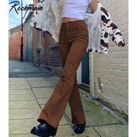 ROCKMORE BROWN джинсовые брюки высокие талии карманы грузовые брюки худые вспышки джинсы Y2K женщины 90S Streetwear брюки осенью