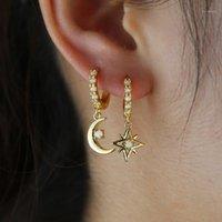Gold filled new fashion women girls charm northstar moon hoop earring with white fire opal ST multi piercing earrings jewelry1
