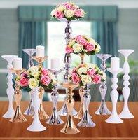 Искусственный розовый цветочный букет с металлическим цветочным вазой подставку подсвечник подсвечник стойки свадебный центральный элемент украшения