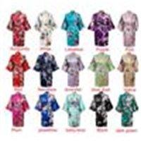 Womens Solid Royan Seide Robe Damen Satin Pyjama Dessous Nachtwäsche Kimono Bad Kleid PJs Nachthemd 17 Farben # 3699