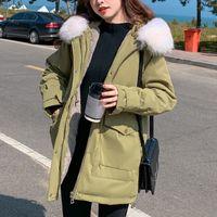 Зимняя мода сплошной парку женщин повседневная шерсть вкладыш с капюшоном толстым теплым покрытием уличные оучные карманы грузовая мягкая куртка 210422