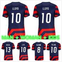2021 2022 Stati Uniti Soccer Jerseys # 10 Pulisic Yedlin Bradley States Stati Uniti Mens # 7 Legno Dempsey Altidore Camicia da calcio uniforme