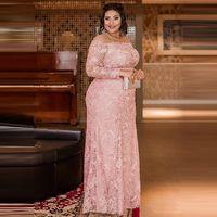 Gelin elbiseler dantel anne artı boyutu aplikler pembe mücevher boyun uzun kollu kılıf kadınlar için örgün yemek elbiseler